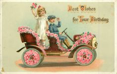 Full Sized Image: BEST WISHES FOR YOUR BIRTHDAY children in flowery car driving right - TuckDB