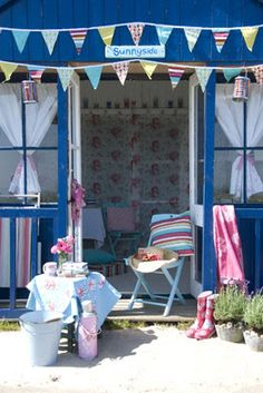 A hectic schedule and so-so weather has conspired to keep me home since my Yorkshire trip l. Beach Hut Interior, Hut House, Modern Country Style, Beach Shack, Beach Kids, Deck Chairs, Blossom Trees, Summer Of Love, Things To Come