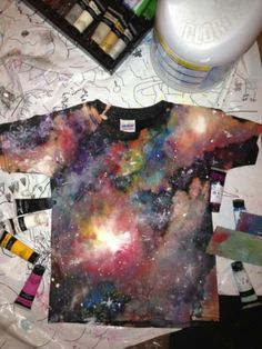 Made with cotton tee, bleach and acrylic paint. I would prolly go with fabric dye, but I will try this!