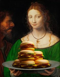 classic paintings, pop culture, and fast food mashup.