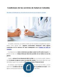 Condiciones de los servicios de Salud en Colombia
