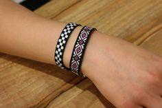 Unipue pattern Bracelets, Ethnic Style Bracelet, Couple Bracelet, Friendship Bracelet, embroidered Bracelet. by River163 on Etsy