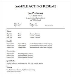 acting - How To Make An Acting Resume