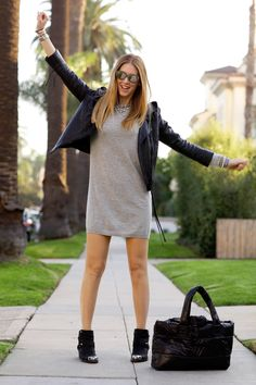 Cashemire dress + leather jacket + ankle boots