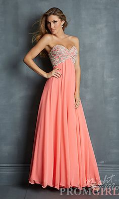 Elegant Strapless Gown by Night Moves 7027 at PromGirl.com