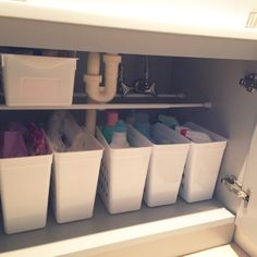 What: Cleaning Supplies Organizer Where: Under Sink Kitchen Sink Organization, Diy Organization, Bathroom Storage, Kitchen Storage, Muji Storage, Smart Storage, Closet Storage, Living Room Storage, Storage Spaces