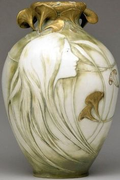 Kessell & Stellmacher, tall and fine Art Nouveau vase, delicate maiden in profile beneath reticulated leaves.