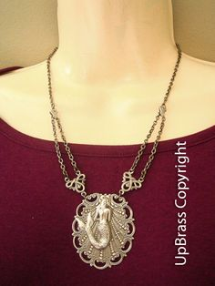 Daughter of the sea-- ox antique silver brass mermaid finding, shell inspired brass base finding necklace,N186. $38.00, via Etsy.