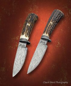 "Robbins Knives - hunting knife set - 4-1/2"" 6 bar twist Damascus blade/guard, stag handle"