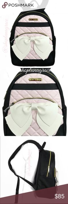 "Just In/ Betsey Johnson Large Backpack Beautiful black, blush & cream large backpack has 2 dude pockets that measure 8.5"" H x 6"" W. Front top snap pocket that goes all the way to the bottom of . Front zip pocket under bow, ( both front pockets hold my iPad). I have the 2nd largest iPad. Fully adjustable back straps. Inside has zip pocket on back wall & 2 slip pockets on front wall. Betsey Johnson Bags Backpacks"