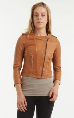 cd1e075c9eef8 Women s Cropped Tan Brown Cross Zip Leather Biker Jacket. Short sleeves with  quilted stitching detail