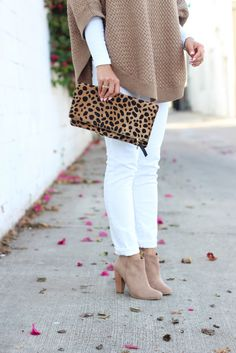 Petite Camel Cape, white AG stilt cigarette roll up jeans, suede booties, leopard foldover clutch // Click the photo above for full outfit details!
