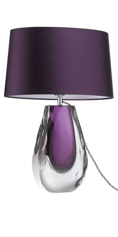 Table Lamps, Designer Modern Purple Art Glass Table Lamp, so beautiful, one of over 3,000 limited production interior design inspirations inc, furniture, lighting, mirrors, tabletop accents and gift ideas to enjoy repin and share at InStyle Decor Beverly Hills Hollywood Luxury Home Decor enjoy  happy pinning