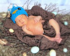 Baby Blue Bird Hat  Photo Prop  Newborn  Toddler  by pixieharmony