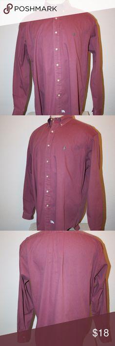 "RALPH LAUREN Dress Shirt Large Burgundy Chest: 54"" Ralph Lauren Excellent Condition - No Stains or Holes Long Sleeved Shirt Button-Down Large Color:  Burgundy Logo on Chest   Chest:  54"" (armpit to armpit then doubled) Sleeve Length:  25 1/2"" Length:  32 1/2"" 100% Cotton Ralph Lauren Shirts Dress Shirts"