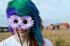 Purple green blue brown dyed scene hair