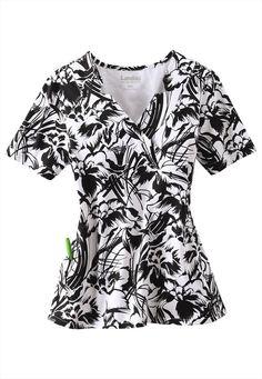 Landau Paradise mock-wrap print scrub top. - Scrubs and Beyond #black #white #floral #paradise #print #scrubs #top #medical #uniform #nurse