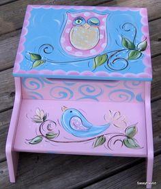 Kids Step Stool  Hand Painted Owl and Birdie. $79.99, via Etsy.