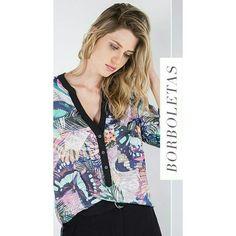 Camisa Estampa Borboletas e Penas | Shoulder ♡ { Amamos essa estampa! }   ••••• 》》Whatsapp 43 9148-2241  ☎  43 3254-5125.    Rua Rio Grande do Norte, 19 Centro - Cambé-Pr  #venhaseapaixonar #fashionistando #carolcamilamodas #news #Verão16 #estampas #modaparameninas #trabalharcomestilo #desejododia #style #fashion #butterfly #pattern  #estampaholic