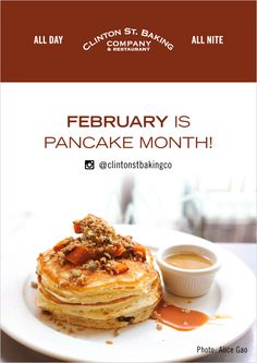 If you live in NYC, you know the magic that is Clinton St. Baking Company. Now, get ready for German Chocolate Pancakes, Cherries Jubille Pancakes w/ vanilla bean whipped cream, and more out-of-this-world flavors during their Pancake Month!!! February 2017