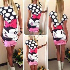 - Gender: - Women - Decoration: - None - Waistline: - Natural - Sleeve Style: - Regular - Pattern Type: - Disney - Style: - Minnie Mouse - Material: Cotton,Polyester,Spandex - Season: - Summer - Dress