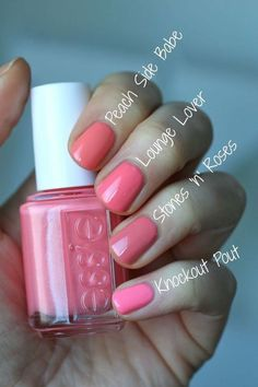 Pretty shades of pink nail polish colors!! ☺️ I would totally wear these colors in the summer time!