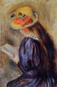 The Little Reader (aka Little Girl in Blue) 1890 | Pierre Auguste Renoir | Oil Painting