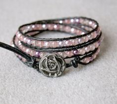 pink quartz & mixed pearls with flower clasp