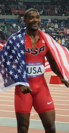 Justin Gatlin representant als Estats Units als Jocs Olímpics del Londres. Justin Gatlin, Carl Lewis, Usain Bolt, Gym Guys, Lycra Men, Sport Tights, Cute Black Boys, Fastest Man, Handsome Black Men