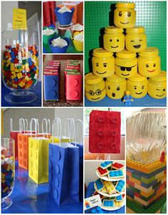 I like the fork holder made from legos!  Party♥ Lego Theme Ideas