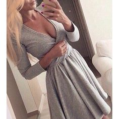 Sweet Solid Color Plunging Neck Long Sleeve Pleated Mini Dress For Women