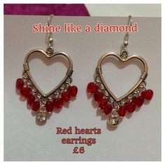 Valentine heart earrings  https://www.facebook.com/pages/Shine-Like-a-Diamond/1518072811757777