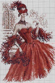 part 1 - point de croix femme en robe rouge carnaval - cross stitch woman, lady in red dress carnival