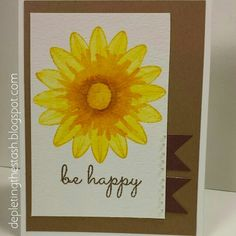 Create a Smile Watercolor Sunflower be happy card