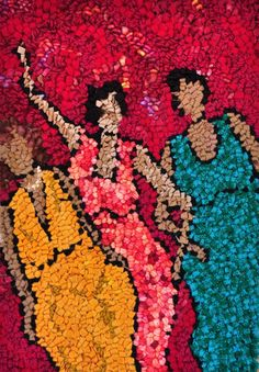 The Three of Us Hooked Rug 11x17 by Deanne Fitzpatrick. Red background with three women. Colorful.