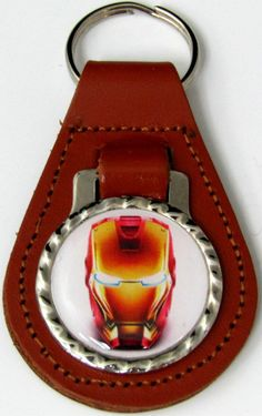 Iron Man Helmet Brown Genuine Leather Key Fob With Steel Chain Ring FOB-0086