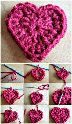 Free Crochet Valentine Heart Motif Pattern #CrochetValentines