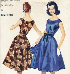 McCall's 5129 vintage dressmaking pattern 1950s designed by Givenchy