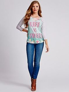 GUESS Life Is Sweet Baseball Tee True White Multi $34 SHIPS FREE BEACH HIPPIE (Patent Pending) Ladies Clothing KIOSKS IN NJ AND & NY ♥ ♥ ♥ AUTHENTIC TOP BRANDS♥ ♥ ♥ OUR PRICES ARE THE BEST!...GUARANTEED! ♥ ♥ ♥