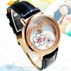 クリスタルと楽しいインポートムーブメント腕時計