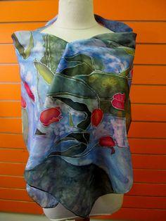 natural handmade silk scarf. Durable paint. Hand wash by Olaine