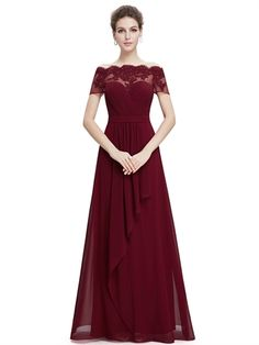 Burgundy Chiffon Off Shoulder Sleeves Ruched A Line Floor Length Beauty Long Prom Dress