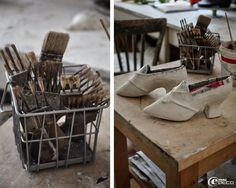 Escarpins en papier mâché en cours de création, Mélanie Bourlon