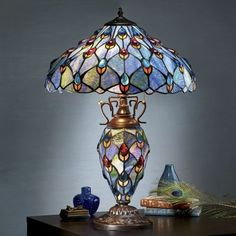 stained glass peacock lamp from seventh avenue