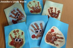 Jennifer's Little World: Reindeer handprint Christmas cards
