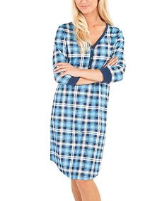 Another great find on #zulily! Blue & Ivory Plaid V-Neck Maternity Nightgown #zulilyfinds