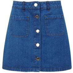 Miss Selfridge Mid Wash Denim Mini Skirt ($26) ❤ liked on Polyvore featuring skirts, mini skirts, bottoms, mid wash denim, button-front denim skirts, blue denim skirt, blue skirt, short denim skirts and blue mini skirt