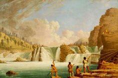 Kettle Falls del Columbia River, Washington. Le cascate attiravano un gran numero di pescatori, provenienti da tutte le tribù dell'altopiano nordoccidentale. I Colville le chiamavano Sometknu, mentre i trappeurs francesi le definivano Chaudières, Pentole.