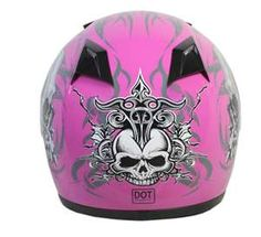 hot pink motorcycle helmet with skull.  For all your pink toys, think ThrottleX Batteries.  www.throttlexbatteries.com