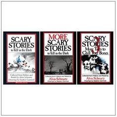 Oh the Scary Story books.  I think every 90s baby remembers these books.  I will never forget reading the page quickly because the face of the dead girl on the opposite page scared me so much.  Had to turn the page...but the terror continued.  I loved these books.